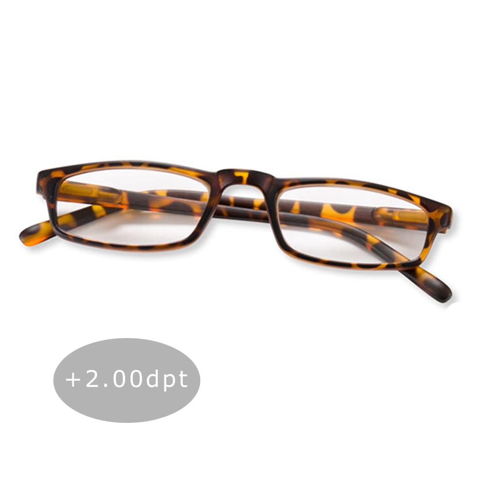 Lesebrille Lesehilfe Halblesebrille Brille Federbügel Unisex + 2.00 dpt Braun