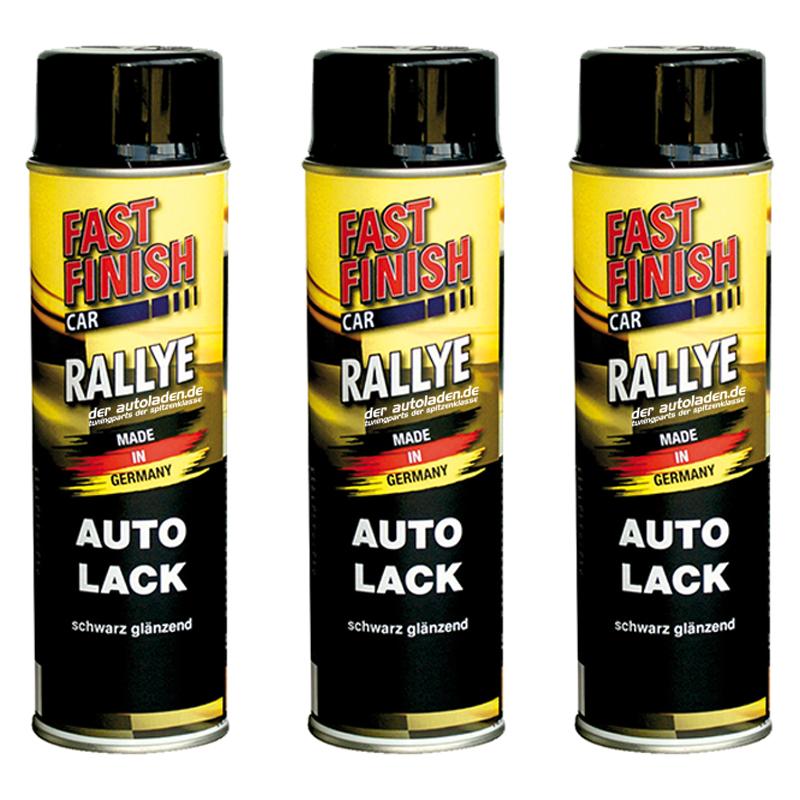 Autolack Rallye Lack Spraydose 500ml Fast Finish schwarz glänzend 3 Stück