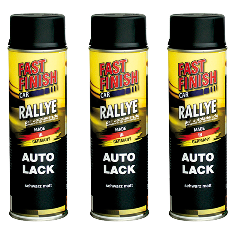 Autolack Rallye Lack Spraydose 500ml Fast Finish schwarz matt 3 Stück