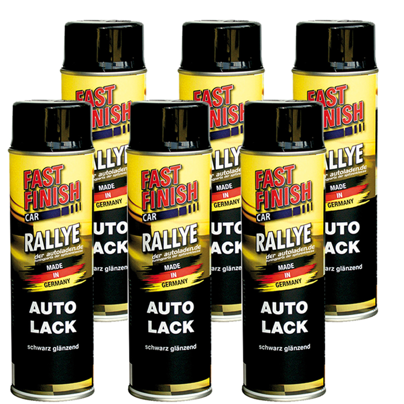 Autolack Rallye Lack Spraydose 500ml Fast Finish schwarz glänzend 6 Stück