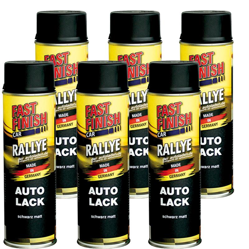 Autolack Rallye Lack Spraydose 500ml Fast Finish schwarz matt 6 Stück