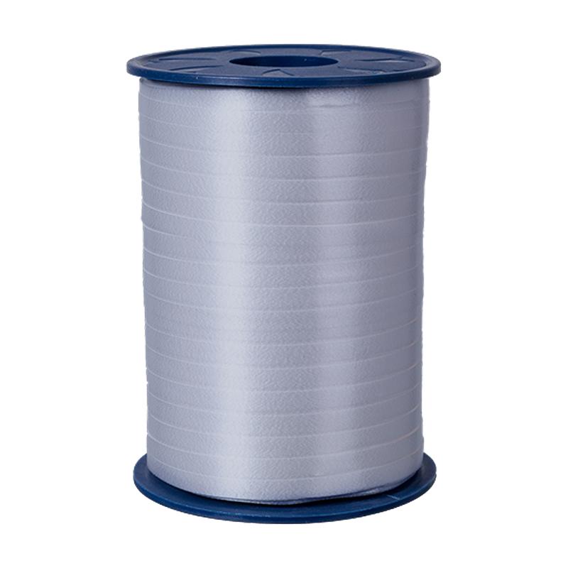 500m Ringelband 5mm Spule Kräuselband Geschenkband Polyband Dekoband Silber