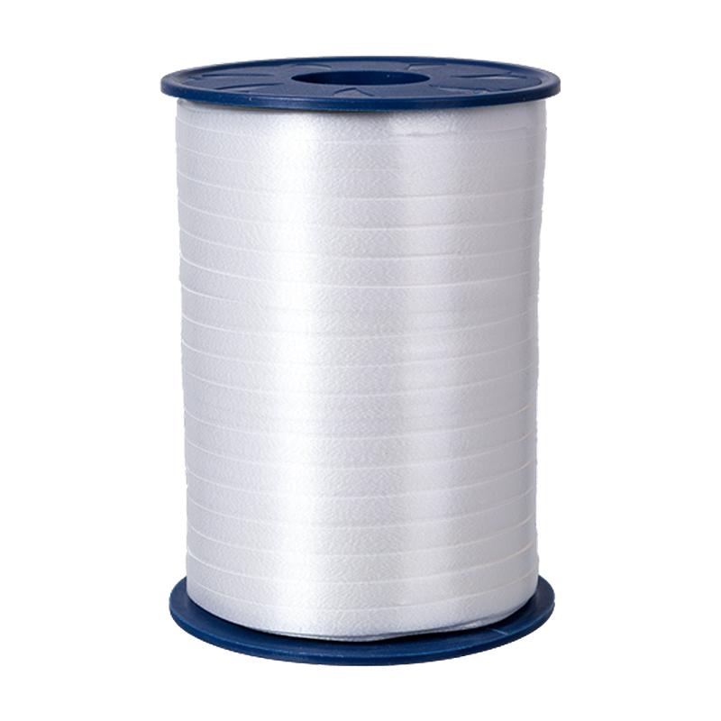 500m Ringelband 5mm Spule Kräuselband Geschenkband Polyband Dekoband Weiß