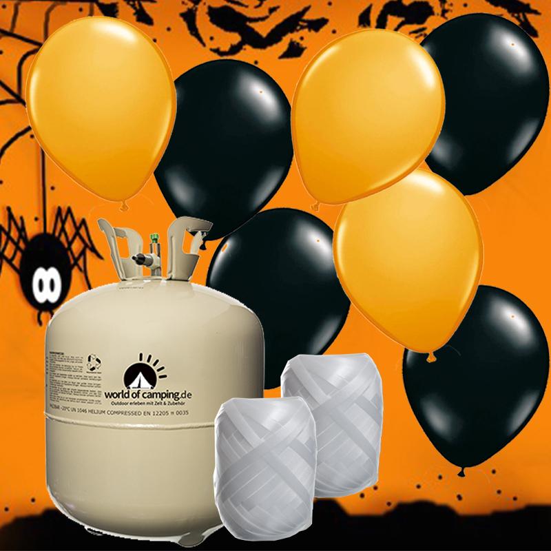 Halloween Party Set Helium Ballongas für bis zu 50 Luftballon Deko Kürbis Horror