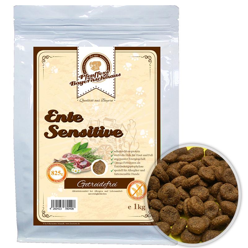 Premium Hundefutter Ente Sensitive Getreidefrei 1kg Pfeuffers Bayernschmaus
