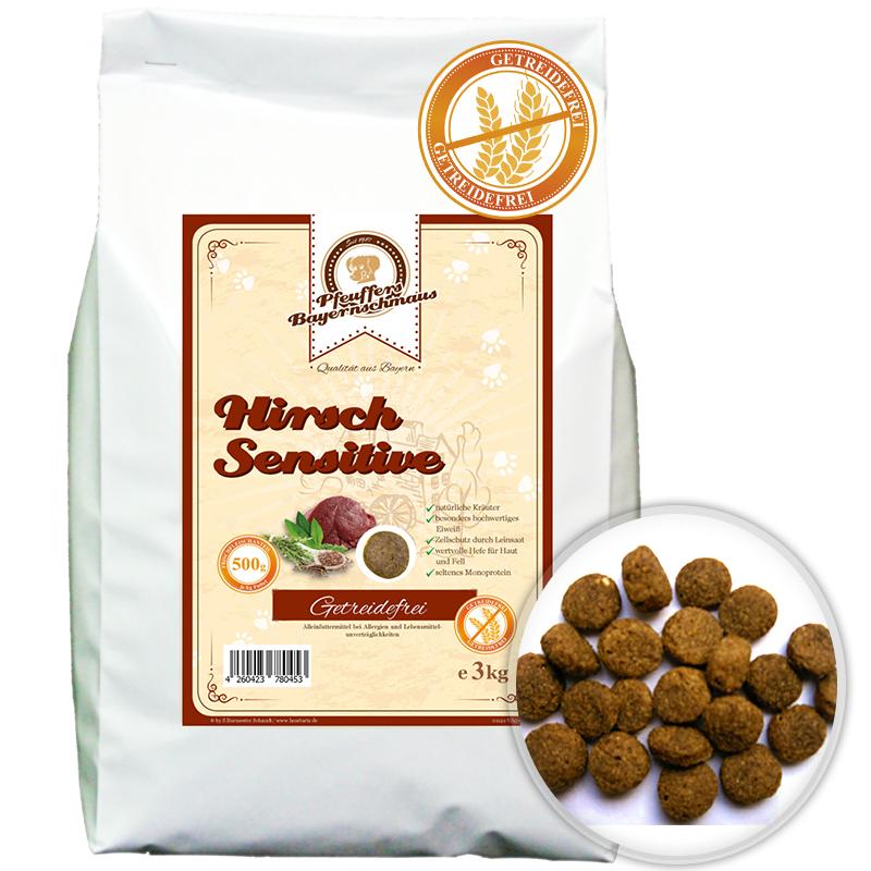 Premium Hundefutter Hirsch Sensitive Getreidefrei 3kg Pfeuffers Bayernschmaus