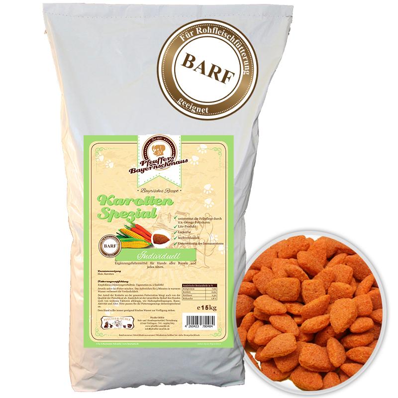 Premium Hundefutter Karotten Ergänzung Vegetarisch 15kg Pfeuffers Bayernschmaus