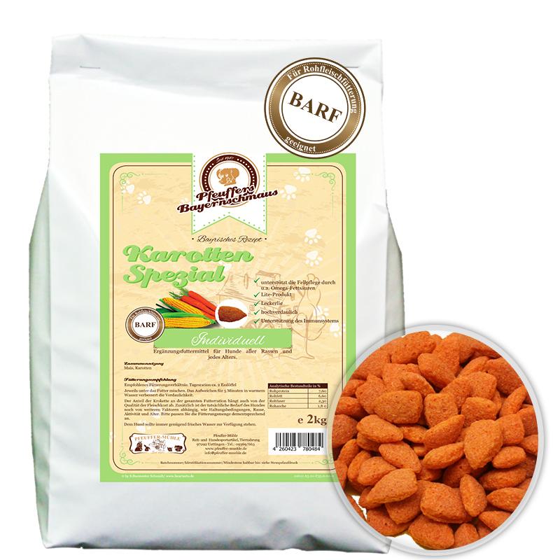 Premium Hundefutter Karotten Ergänzung Vegetarisch 2kg Pfeuffers Bayernschmaus