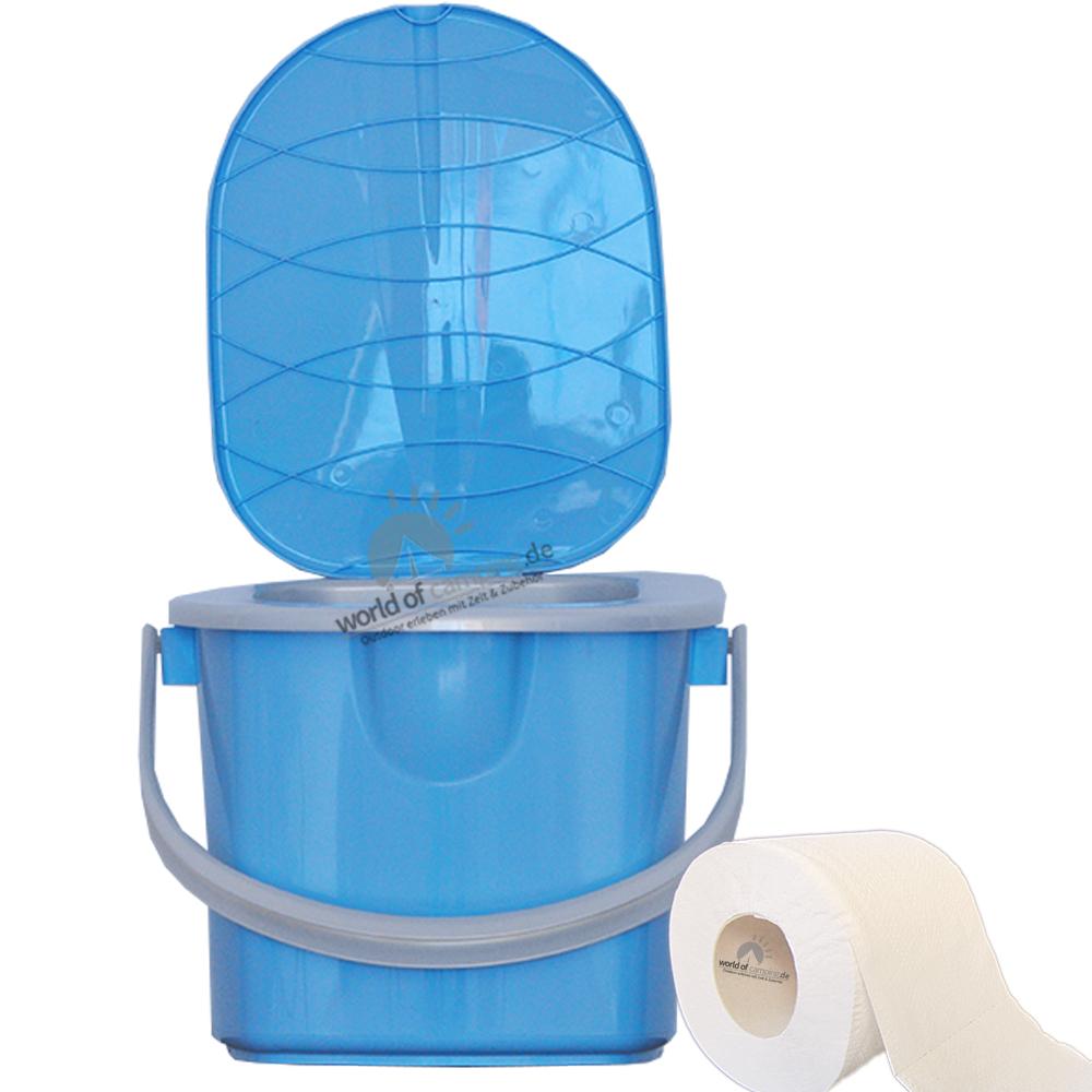 Mobile Toilette Campingtoilette Eimertoilette Reisetoilette Outdoor Blau 15,5 L