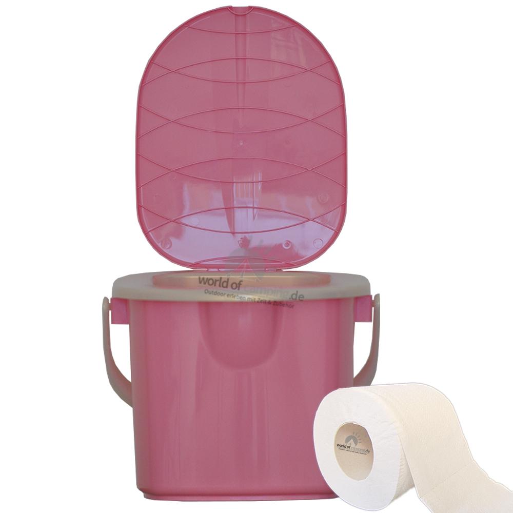 Mobile Toilette Campingtoilette Eimertoilette Reisetoilette Outdoor Pink 15,5 L