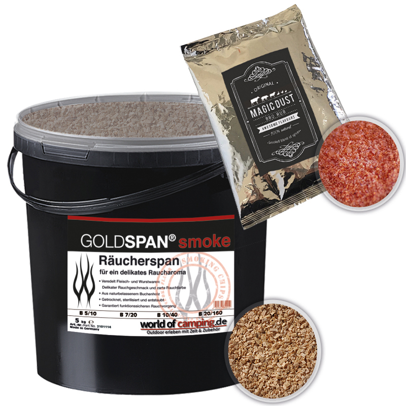 GOLDSPAN smoke B 7 / 20 Magic Dust Räucherspäne Räuchern Buche Räucherholz 5kg