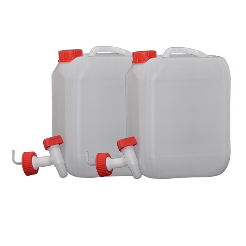 2x Hünersdorff 10L Profi Wasser Kanister mit Verschluss und Ablasshahn