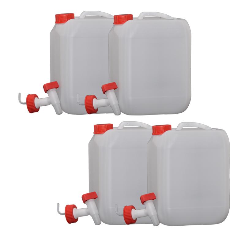 4x Hünersdorff 10L Profi Wasser Kanister mit Verschluss und Ablasshahn