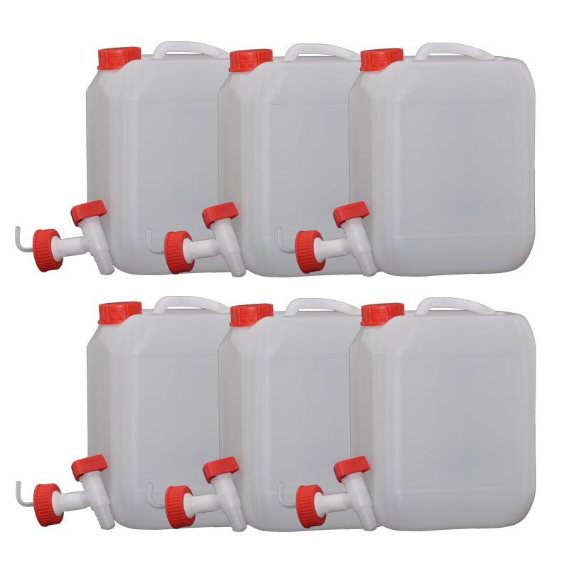 6x Hünersdorff 10L Profi Wasser Kanister mit Verschluss und Ablasshahn