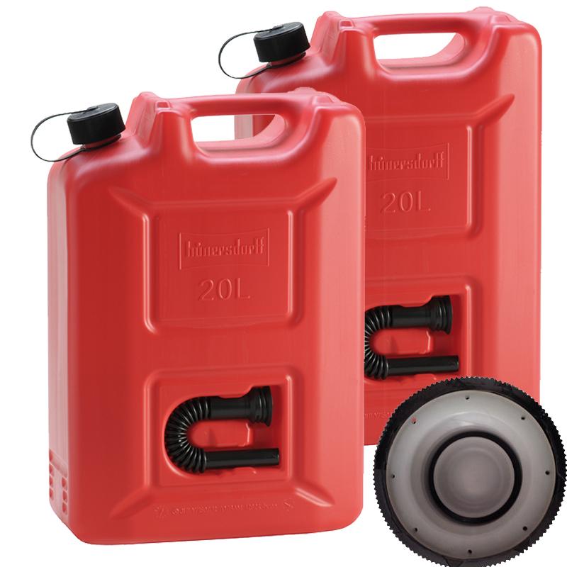 Hünersdorff 2x Benzinkanister Kraftstoff Kanister rot 20 L UN-Zulassung Set