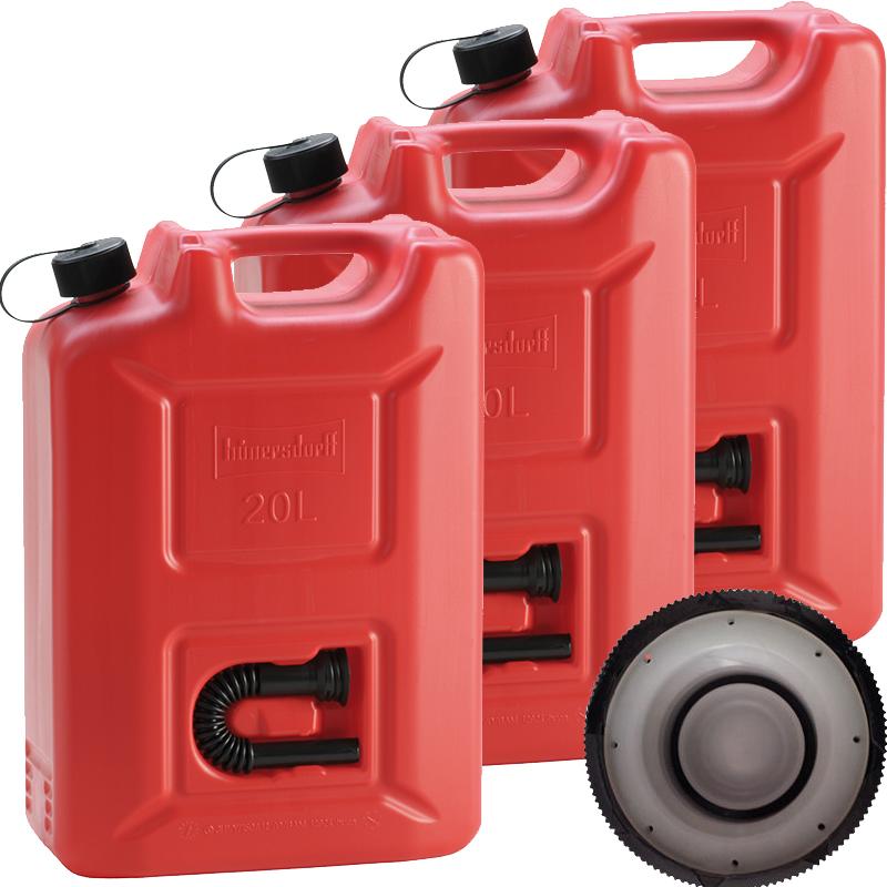 Hünersdorff 3x Benzinkanister Kraftstoff Kanister rot 20 L UN-Zulassung Set
