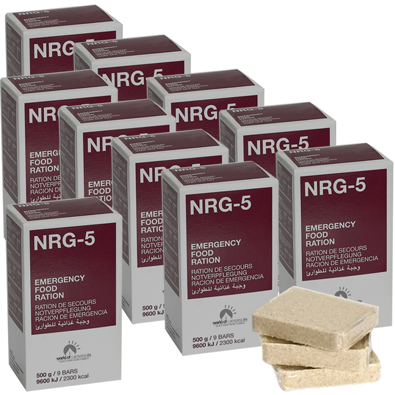 Notverpflegung NRG-5 Survival 10 Packungen à 500g, (90 Riegel) Notration, MSI