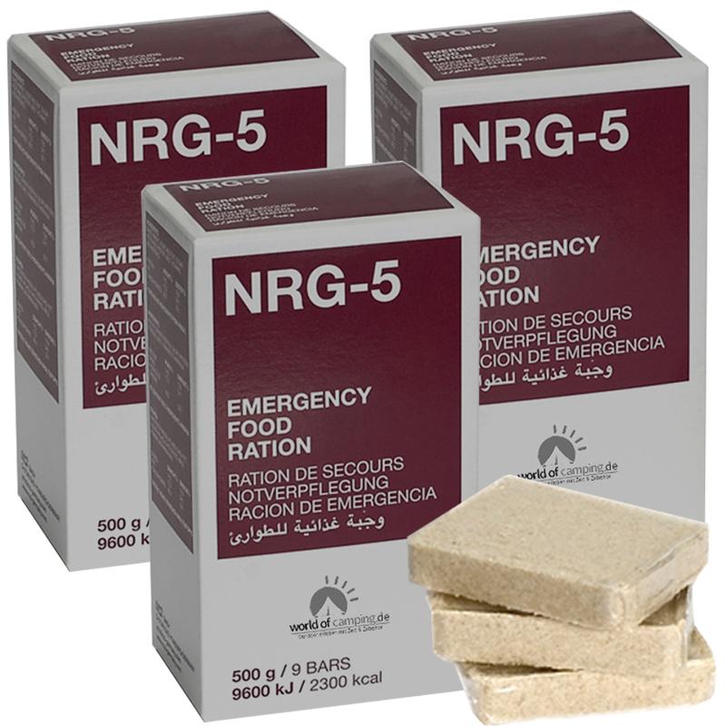 Notverpflegung NRG-5 Survival 3 Packungen à 500g, (27 Riegel) Notration, MSI