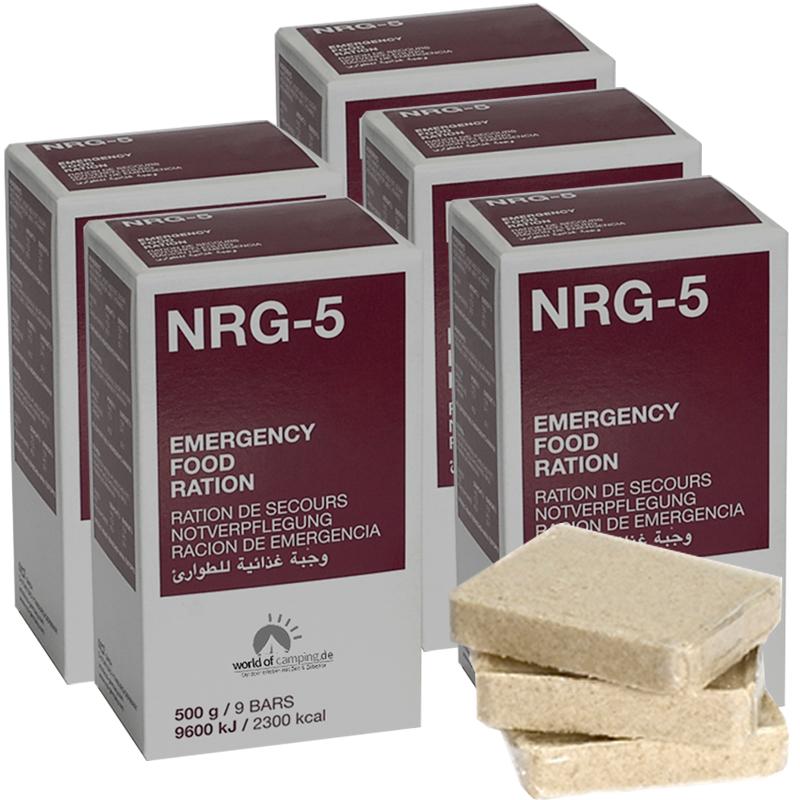 Notverpflegung NRG-5 Survival 5 Packungen à 500g, (45 Riegel) Notration, MSI