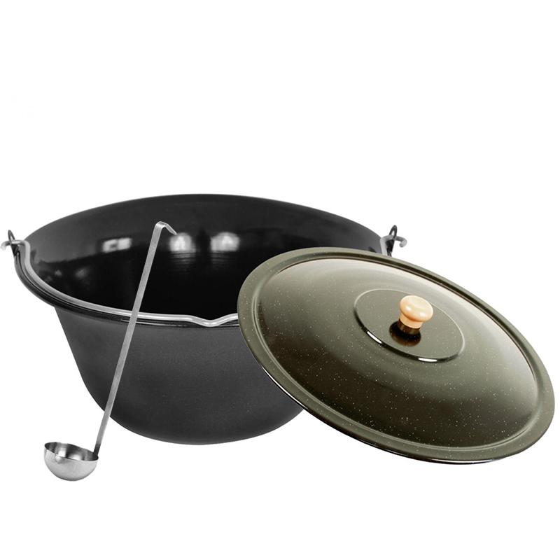 Gulaschkessel emailliert Black Edition 10L Topf + Kelle+Deckel |Glühwein Eintopf