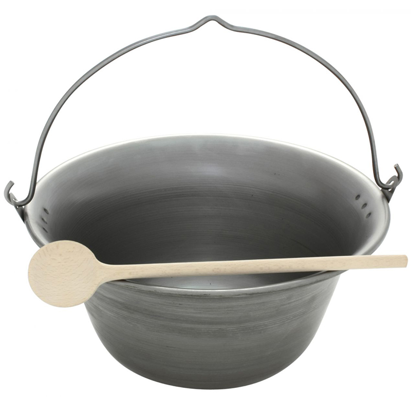 Gulaschkessel Eisen 22 Liter Topf + Kochlöffel | Glühwein Eintopf Suppe Küche