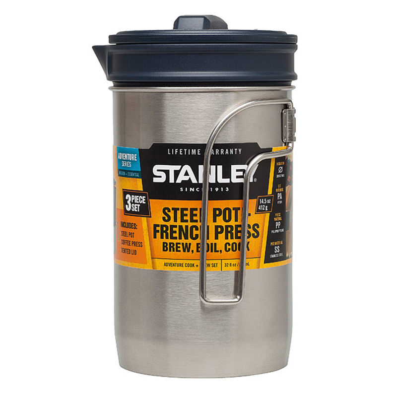 Stanley Adventure Kochset Edelstahl Kochtopf Kaffee Stempelpresse Kochgeschirr
