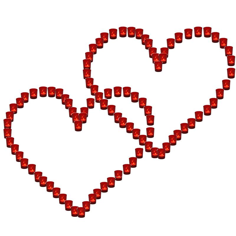 Lichterbecher 2x Herz rot Hochzeit Illuminationsbecher Teelicht Teelichthalter