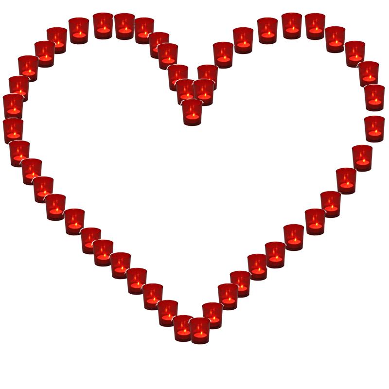 Lichterbecher 1x Herz rot Hochzeit Illuminationsbecher Teelicht Teelichthalter