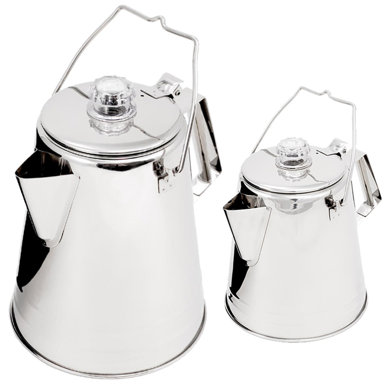GSI Edelstahl Perkolator Kaffeekanne Outdoorkanne Teekanne Camping Outdoor Kanne