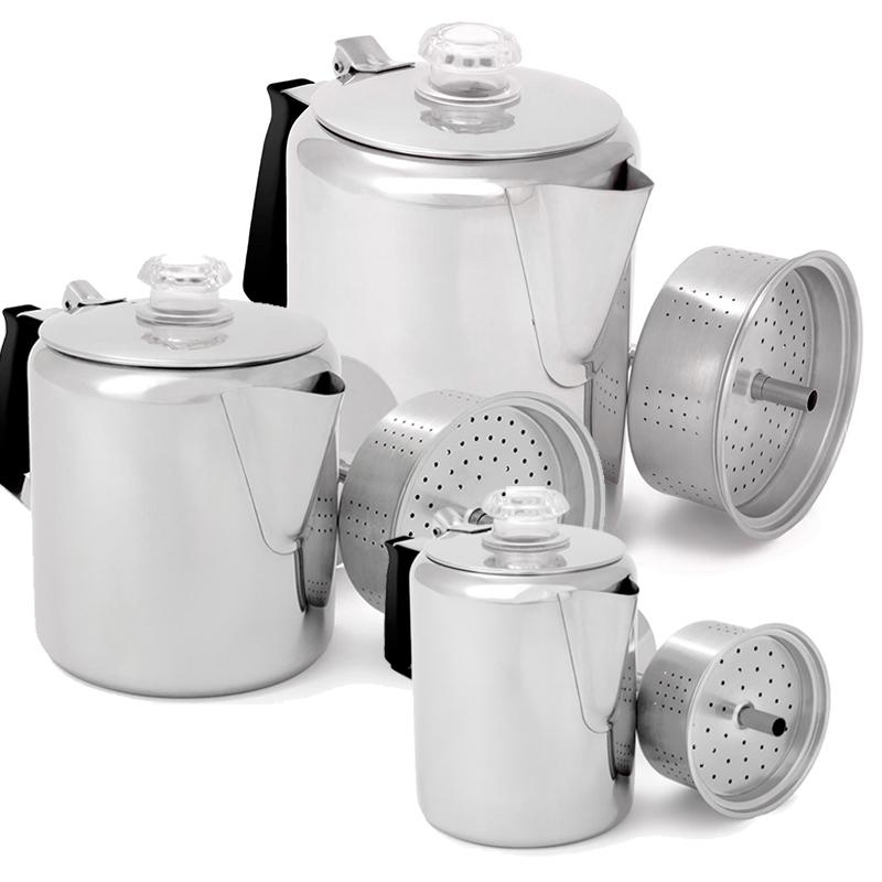 GSI Edelstahl Perkolator Kaffeekanne Outdoorkanne Teekanne Camping Outdoor
